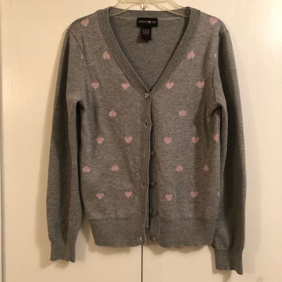 Forever & Ever Sweaters - Forever & Ever Gray Pink Hearts Sweater  Size L